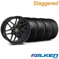 Staggered Forgestar F14 Monoblock Piano Black Wheel & Falken Tire Kit - 18x9/10 (94-98) - American Muscle Wheels KIT||29835||mb1||29834||79560||79562
