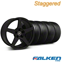 Forgestar Staggered CF5 Monoblock Staggered Textured Black CF5 Monoblock Wheel & Falken Tire Kit - 18x9/10 (94-98) - Forgestar 79560