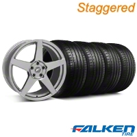 Staggered Forgestar CF5 Monoblock Gunmetal Wheel & Falken Tire Kit - 18x9/10 (94-98) - American Muscle Wheels KIT||29840||29841||79562||mb1||79560