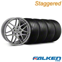 Staggered Forgestar F14 Monoblock Gunmetal Wheel & Falken Tire Kit - 18x9/10 (94-98) - American Muscle Wheels KIT||29842||29843||mb1||79562||79560