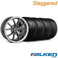 Staggered FR500 Anthracite Wheel & Falken Tire Kit - 18x9/10 (94-98) - American Muscle Wheels 79560||79562||28099||28274||mb1||KIT