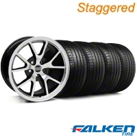 Staggered FR500 Style Black Machined Wheel & Falken Tire Kit - 18x9/10 (94-98) - American Muscle Wheels KIT||mb1||28383||79560||28382||79562