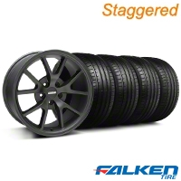 Staggered FR500 Matte Black Wheel & Falken Tire Kit - 18x9/10 (94-98) - American Muscle Wheels KIT||28473||28475||79560||mb1||79562