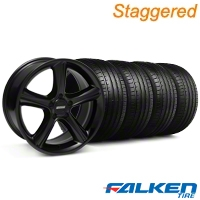 Staggered 2010 GT Premium Style Black Wheel & Falken Tire Kit - 18x9 (94-98) - American Muscle Wheels KIT||79560||28210||mb1||79562||28213