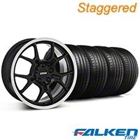 Staggered GT4 Black Wheel & Falken Tire Kit - 18x9/10 (94-98) - American Muscle Wheels KIT||28132||79560||28146||mb1||79562