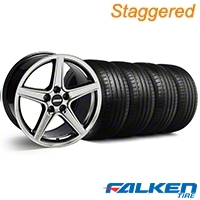Staggered Saleen Style Black Chrome Wheel & Falken Tire Kit - 18x9/10 (94-98) - American Muscle Wheels KIT||10106||79560||10105||mb1||79562