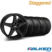 Staggered Saleen Matte Black Wheel & Falken Tire Kit - 18x9/10 (94-98) - American Muscle Wheels KIT||28306||mb1||79562||79560||28307