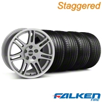 Staggered 10th Anniversary Cobra Anthracite Wheel & Falken Tire Kit - 18x9/10 (99-04) - American Muscle Wheels KIT||mb1||79562||28347||79561||28350