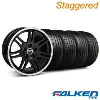 Staggered 10th Anniversary Cobra Black Wheel & Falken Tire Kit - 18x9/10 (99-04) - American Muscle Wheels KIT||mb1||79562||28348||79561||28351