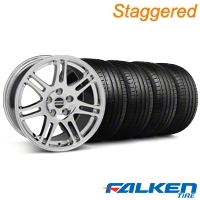 Staggered 10th Anniversary Cobra Chrome Wheel & Falken Tire Kit - 18x9 (99-04) - American Muscle Wheels KIT||79561||28349||28346||mb1||79562