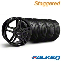 Staggered 2010 GT500 Black Wheel & Falken Tire Kit - 18x9 (99-04) - American Muscle Wheels KIT||79562||28219||mb1||28222||79561