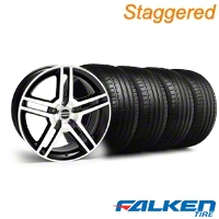 Staggered 2010 GT500 Black Machined Wheel & Falken Tire Kit - 18x9 (99-04) - American Muscle Wheels KIT||79561||28224||79562||28221||mb1