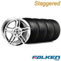 Staggered 2010 GT500 Chrome Wheel & Falken Tire Kit - 18x9 (99-04) - American Muscle Wheels KIT||79562||mb1||79561||28220||28223