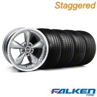 Staggered Bullitt Motorsport Anthracite Wheel & Falken Tire Kit - 18x9/10 (99-04) - American Muscle Wheels KIT||mb1||10119||79562||79561||10117