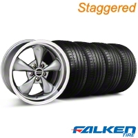 Staggered Deep Dish Bullitt Anthracite Wheel & Falken Tire Kit - 18x9/10 (99-04) - American Muscle Wheels KIT||79561||28323||28322||mb1||79562