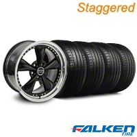 Staggered Bullitt Motorsport Black Wheel & Falken Tire Kit - 18x9/10 (99-04) - American Muscle Wheels KIT||79562||10082||mb1||79561||10083