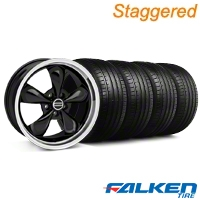 Staggered Bullitt Black Wheel & Falken Tire Kit - 18x9/10 (99-04) - American Muscle Wheels KIT||79562||28264||79561||mb1||28270