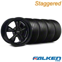 Staggered Bullitt Solid Black Wheel & Falken Tire Kit - 18x9/10 (99-04) - American Muscle Wheels 79561||28481||28482||79562||mb1||KIT