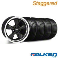 Staggered Bullitt Deep Dish Matte Black Wheel & Falken Tire Kit - 18x9/10 (99-04) - American Muscle Wheels KIT||28304||79561||28303||mb1||79562