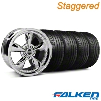 Staggered Bullitt Motorsport Chrome Wheel & Falken Tire Kit - 18x9/10 (99-04) - American Muscle Wheels KIT||79561||10115||10113||mb1||79562