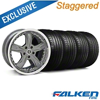 Staggered Shelby Razor Gunmetal Wheel & Falken Tire Kit - 18x9/10 (99-04) - American Muscle Wheels KIT||mb1||27221||79562||27222||79561
