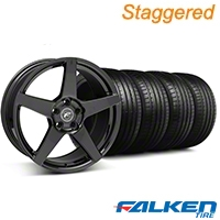 Forgestar Staggered CF5 Monoblock Piano Black Wheel & Falken Tire Kit - 18x9/10 (99-04) - Forgestar KIT||mb1||79562||29833||29832||79561