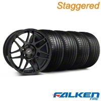 Forgestar Staggered F14 Monoblock Piano Black Wheel & Falken Tire Kit - 18x9/10 (99-04) - Forgestar KIT||79561||29835||mb1||29834||79562
