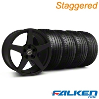 Staggered Forgestar CF5 Monoblock Staggered Textured Black Forgestar CF5 Monoblock Wheel & Falken Tire Kit - 18x9/10 (99-04) - American Muscle Wheels KIT||79561||29836||mb1||29837||79562