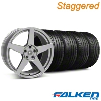Staggered Forgestar CF5 Monoblock Gunmetal Wheel & Falken Tire Kit - 18x9/10 (99-04) - American Muscle Wheels KIT||79561||29841||79562||mb1||29840