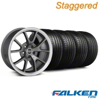 Staggered FR500 Anthracite Wheel & Falken Tire Kit - 18x9/10 (99-04) - American Muscle Wheels KIT||79562||28099||79561||28274||mb1