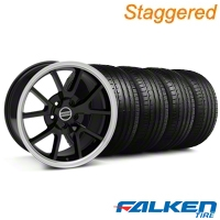 Staggered FR500 Black Wheel & Falken Tire Kit - 18x9/10 (99-04) - American Muscle Wheels KIT||28101||mb1||79561||79562||28272