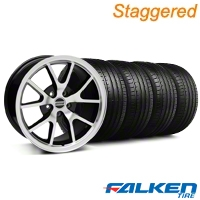 Staggered FR500 Black Machined Wheel & Falken Tire Kit - 18x9/10 (99-04) - American Muscle Wheels KIT||28382||79562||mb1||79561||28383