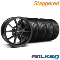 Staggered FR500 Gloss Black Wheel & Falken Tire Kit - 18x9/10 (99-04) - American Muscle Wheels KIT||mb1||79562||28477||79561||28474