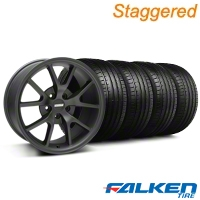 Staggered FR500 Matte Black Wheel & Falken Tire Kit - 18x9/10 (99-04) - American Muscle Wheels KIT||79562||mb1||79561||28475||28473