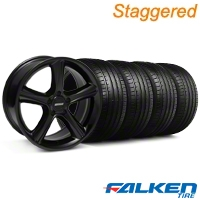 Staggered 2010 GT Premium Black Wheel & Falken Tire Kit - 18x9 (99-04) - American Muscle Wheels KIT||28210||79562||28213||mb1||79561