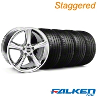 Staggered 2010 GT Premium Chrome Wheel & Falken Tire Kit - 18x9/10 (99-04) - American Muscle Wheels KIT||79561||79562||28214||mb1||28211