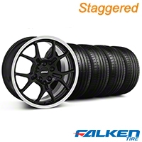 Staggered GT4 Black Wheel & Falken Tire Kit - 18x9/10 (99-04) - American Muscle Wheels KIT||79562||28132||mb1||28146||79561