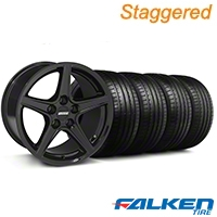 Staggered S Black Wheel & Falken Tire Kit - 18x9/10 (99-04) - American Muscle Wheels KIT||79562||mb1||28252||28075||79561