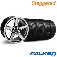 Staggered Saleen Black Chrome Wheel & Falken Tire Kit - 18x9/10 (99-04) - American Muscle Wheels KIT||mb1||79562||10105||10106||79561