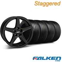 Staggered Saleen Matte Black Wheel & Falken Tire Kit - 18x9/10 (99-04) - American Muscle Wheels KIT||28306||79561||mb1||28307||79562