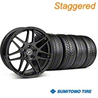 Forgestar Staggered F14 Piano Black Wheel & Sumitomo Tire Kit - 17x9/10.5 (99-04) - Forgestar KIT||29861||63003||29862||63000