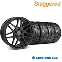 Forgestar Staggered F14 Matte Black Wheel & Sumitomo Tire Kit - 17x9/10.5 (99-04) - Forgestar KIT||29863||63000||29864||63003