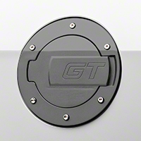 MMD Black Billet Aluminum Fuel Door - GT Logo (10-14 All)