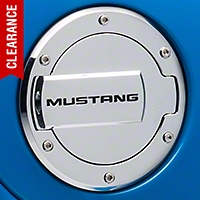 MMD Chrome Billet Aluminum Fuel Door w/ Mustang Lettering (94-04 All) - MMD 41410