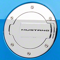MMD Chrome Billet Aluminum Fuel Door w/ Mustang Lettering (10-14 All) - MMD 41414