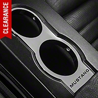 Modern Billet Chrome Cup Holder Bezel - Mustang Lettering (05-09)