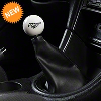 Modern Billet Retro Style 5-Speed Shift Knob w/ Running Pony Logo - White (79-04 All) - Modern Billet 41433