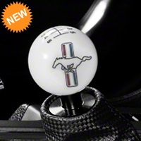 Modern Billet Retro Style 6-Speed Shift Knob w/ Tri-Bar Pony Logo - White (11-14 All) - Modern Billet 41434