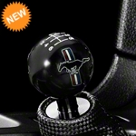 Modern Billet Retro Style 6-Speed Shift Knob w/ Tri-Bar Pony Logo - Black (11-14 All) - Modern Billet 41435