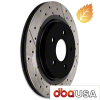 DBA X-Gold Series Cross Drilled/Slotted Rotors - Rear Pair (05-14 GT, V6) - DBA DBA 2114X